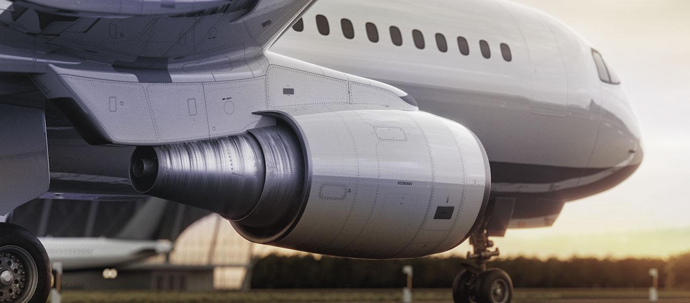 Aeroplano su pista di decollo
