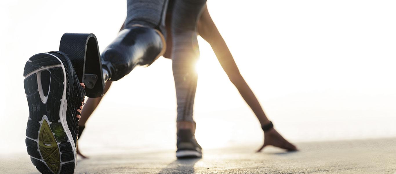 Dettaglio di una protesi per gamba