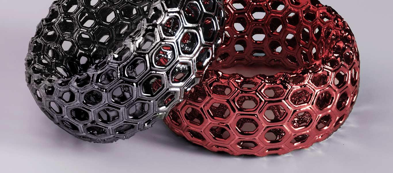 Prototipi di poliedri con rifinitura cromata